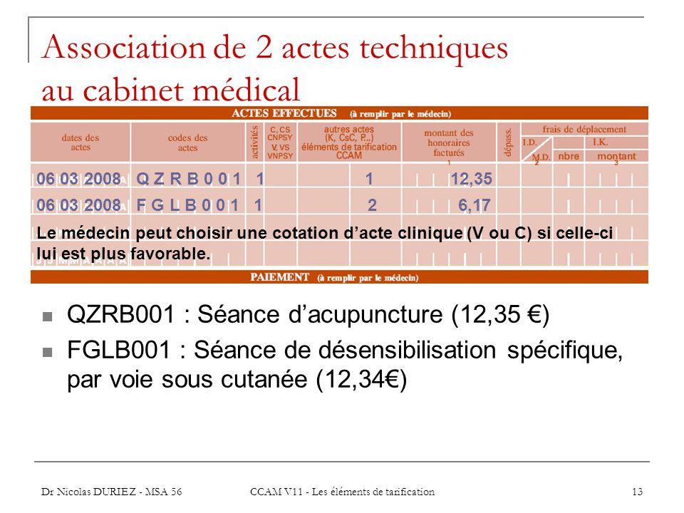 Dr Nicolas DURIEZ - MSA 56 CCAM V11 - Les éléments de tarification 13 Association de 2 actes techniques au cabinet médical QZRB001 : Séance dacupunctu