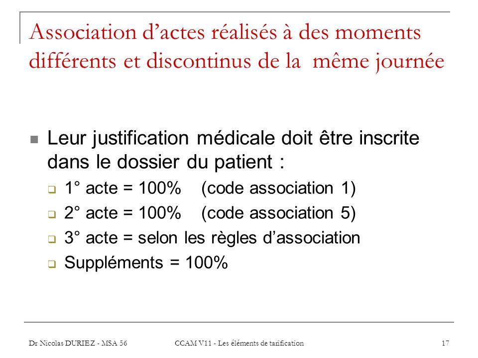 Dr Nicolas DURIEZ - MSA 56 CCAM V11 - Les éléments de tarification 17 Association dactes réalisés à des moments différents et discontinus de la même j