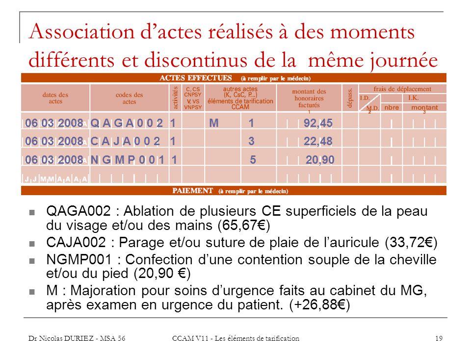 Dr Nicolas DURIEZ - MSA 56 CCAM V11 - Les éléments de tarification 19 Association dactes réalisés à des moments différents et discontinus de la même j