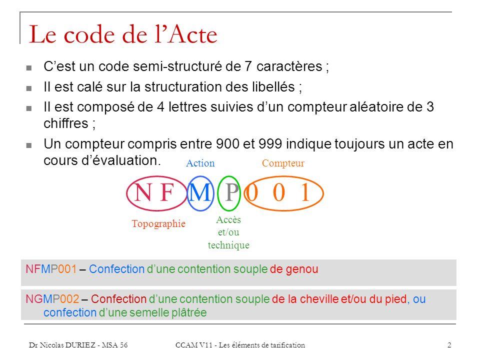 Dr Nicolas DURIEZ - MSA 56 CCAM V11 - Les éléments de tarification 2 Le code de lActe NFMP001 – Confection dune contention souple de genou Cest un cod