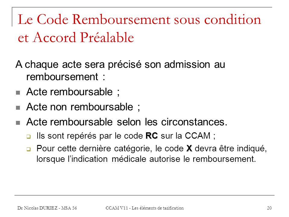 Dr Nicolas DURIEZ - MSA 56 CCAM V11 - Les éléments de tarification 20 Le Code Remboursement sous condition et Accord Préalable A chaque acte sera préc