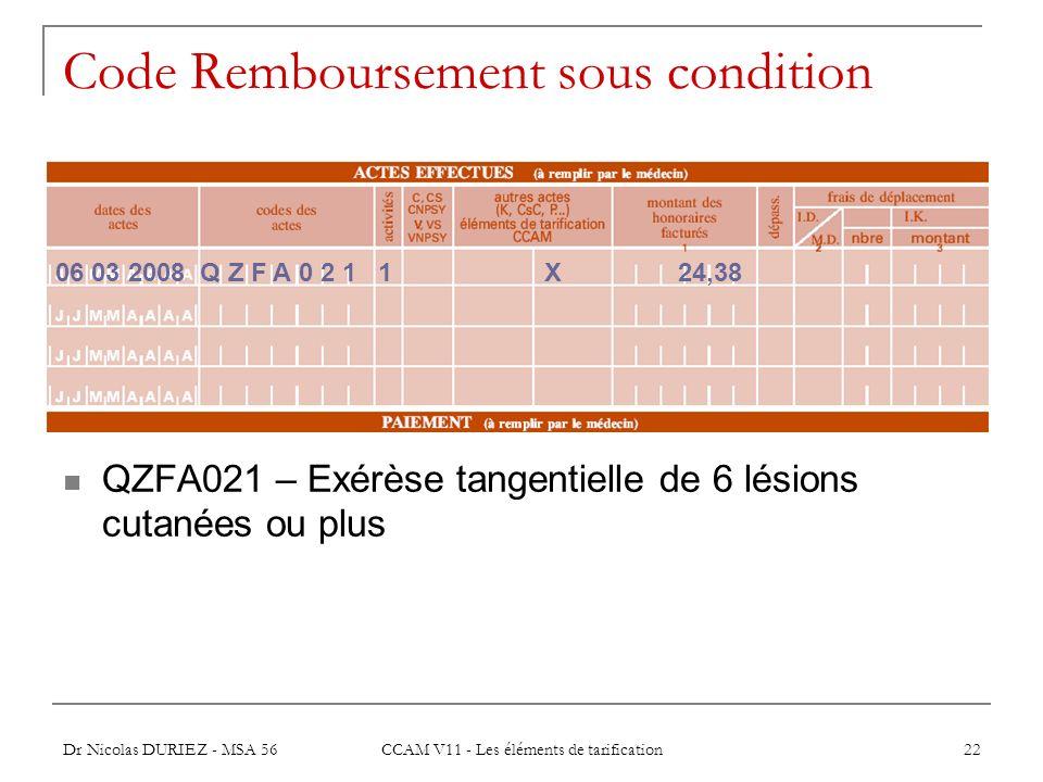 Dr Nicolas DURIEZ - MSA 56 CCAM V11 - Les éléments de tarification 22 Code Remboursement sous condition QZFA021 – Exérèse tangentielle de 6 lésions cu