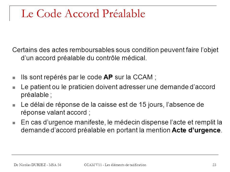 Dr Nicolas DURIEZ - MSA 56 CCAM V11 - Les éléments de tarification 23 Le Code Accord Préalable Certains des actes remboursables sous condition peuvent