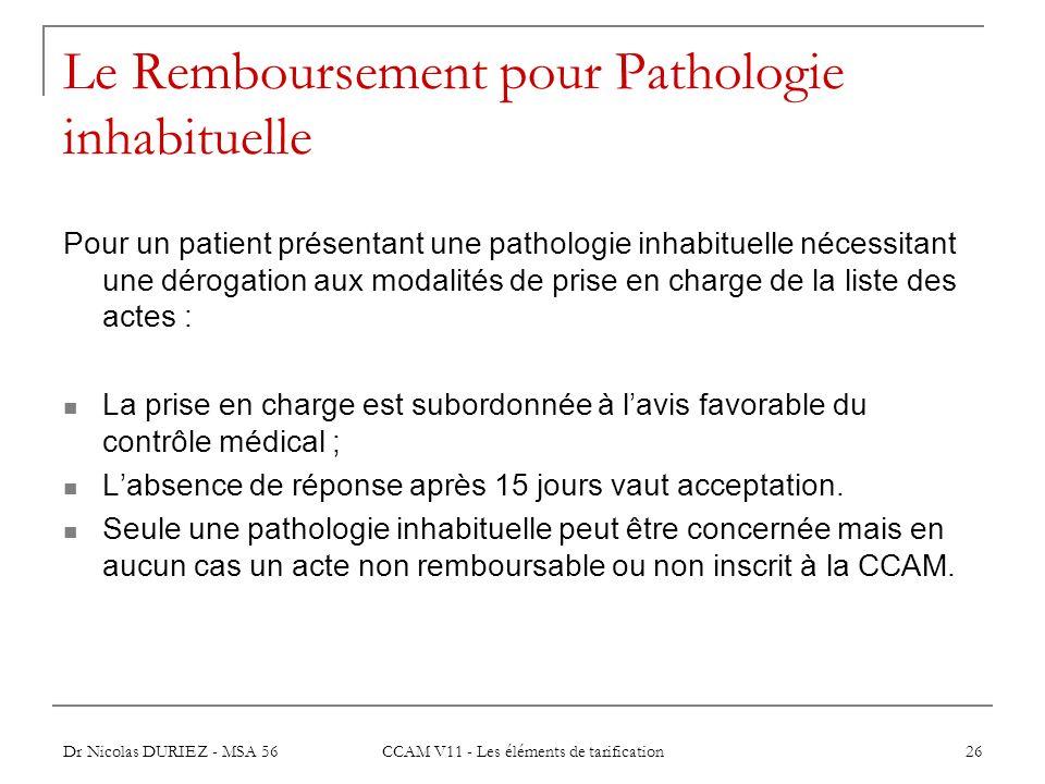 Dr Nicolas DURIEZ - MSA 56 CCAM V11 - Les éléments de tarification 26 Le Remboursement pour Pathologie inhabituelle Pour un patient présentant une pat