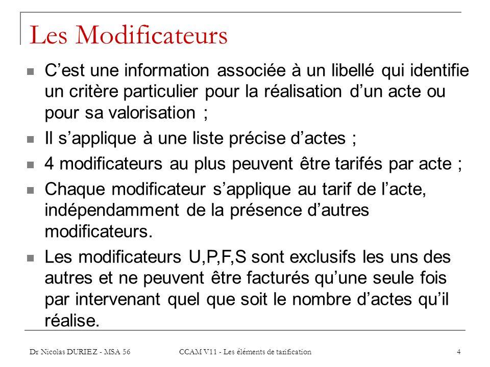 Dr Nicolas DURIEZ - MSA 56 CCAM V11 - Les éléments de tarification 4 Les Modificateurs Cest une information associée à un libellé qui identifie un cri