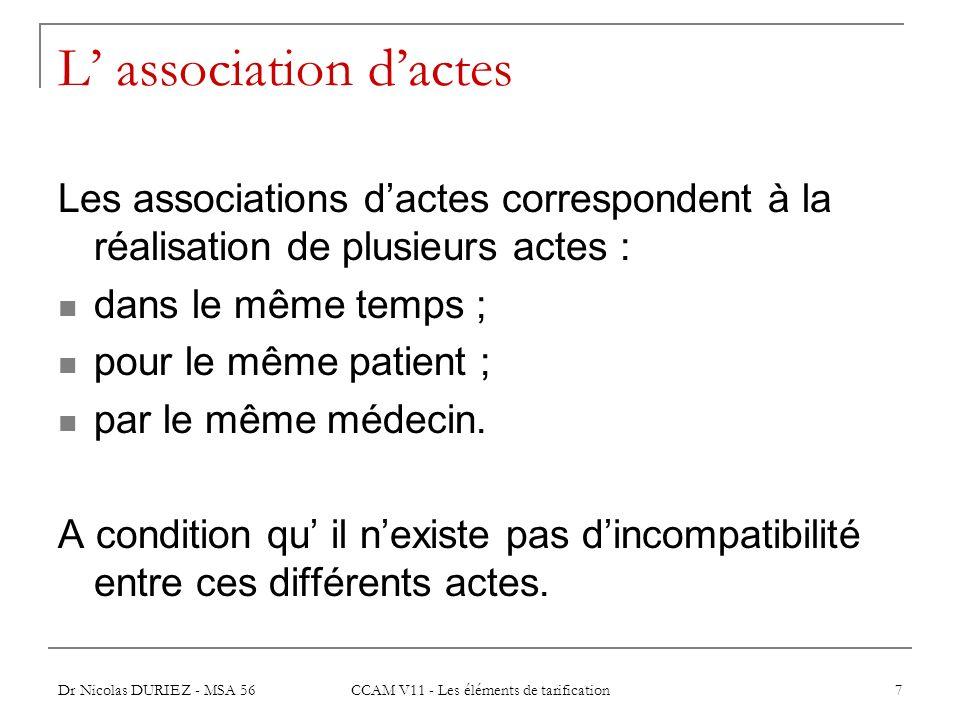Dr Nicolas DURIEZ - MSA 56 CCAM V11 - Les éléments de tarification 7 L association dactes Les associations dactes correspondent à la réalisation de pl