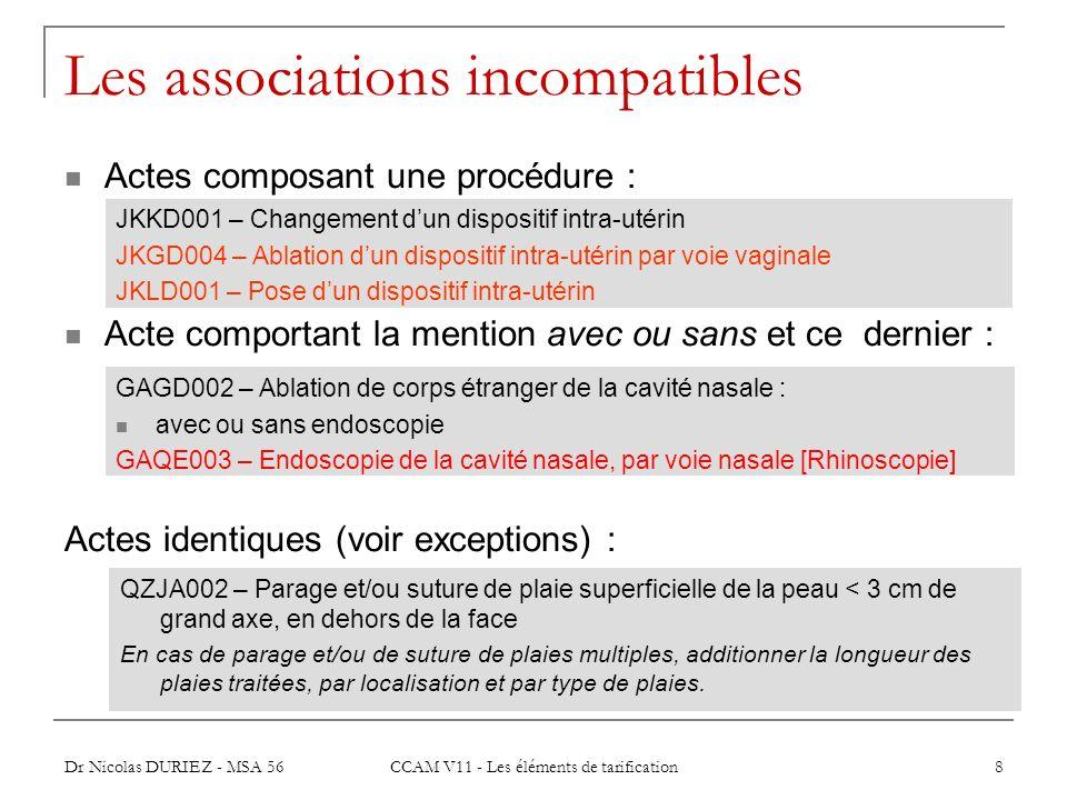 Dr Nicolas DURIEZ - MSA 56 CCAM V11 - Les éléments de tarification 8 Les associations incompatibles Actes composant une procédure : Acte comportant la
