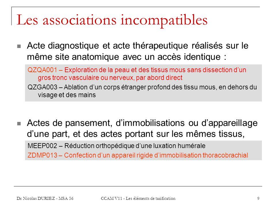 Dr Nicolas DURIEZ - MSA 56 CCAM V11 - Les éléments de tarification 9 Les associations incompatibles Acte diagnostique et acte thérapeutique réalisés s
