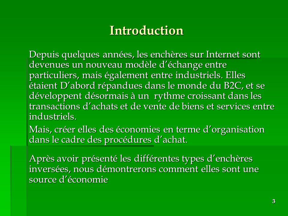 3 Introduction Depuis quelques années, les enchères sur Internet sont devenues un nouveau modèle déchange entre particuliers, mais également entre ind