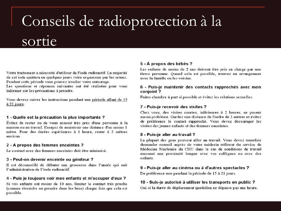 Conseils de radioprotection à la sortie