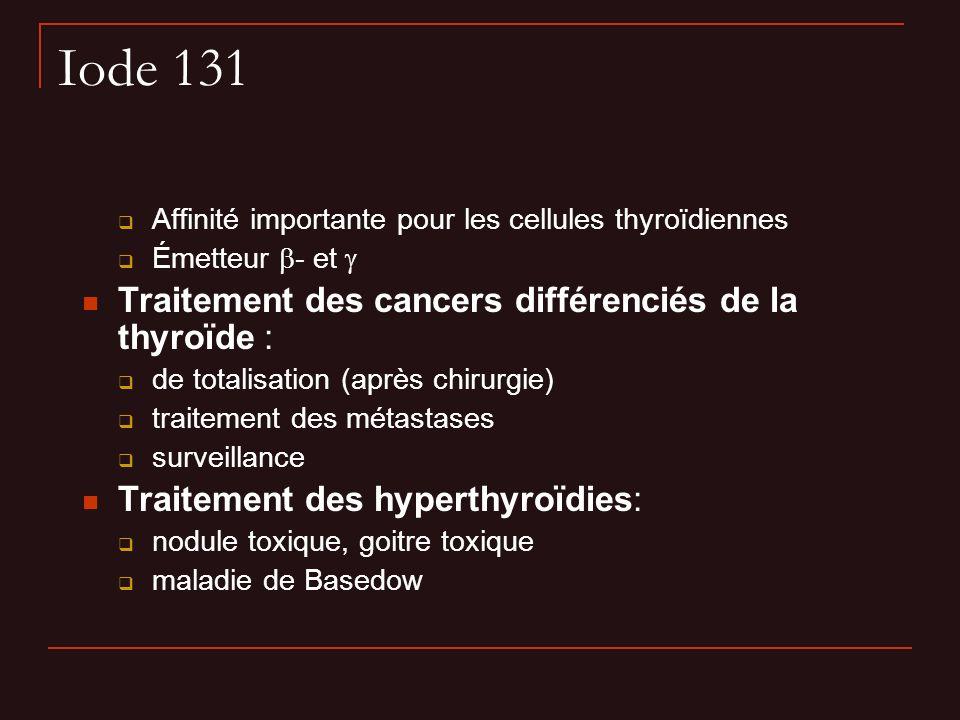 Iode 131 Affinité importante pour les cellules thyroïdiennes Émetteur - et Traitement des cancers différenciés de la thyroïde : de totalisation (après