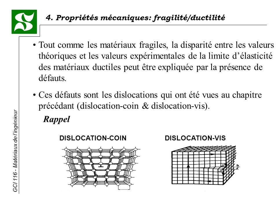 GCI 116 - Matériaux de lingénieur 4. Propriétés mécaniques: fragilité/ductilité Tout comme les matériaux fragiles, la disparité entre les valeurs théo