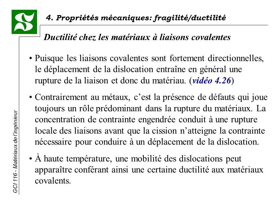 GCI 116 - Matériaux de lingénieur 4. Propriétés mécaniques: fragilité/ductilité Ductilité chez les matériaux à liaisons covalentes Puisque les liaison