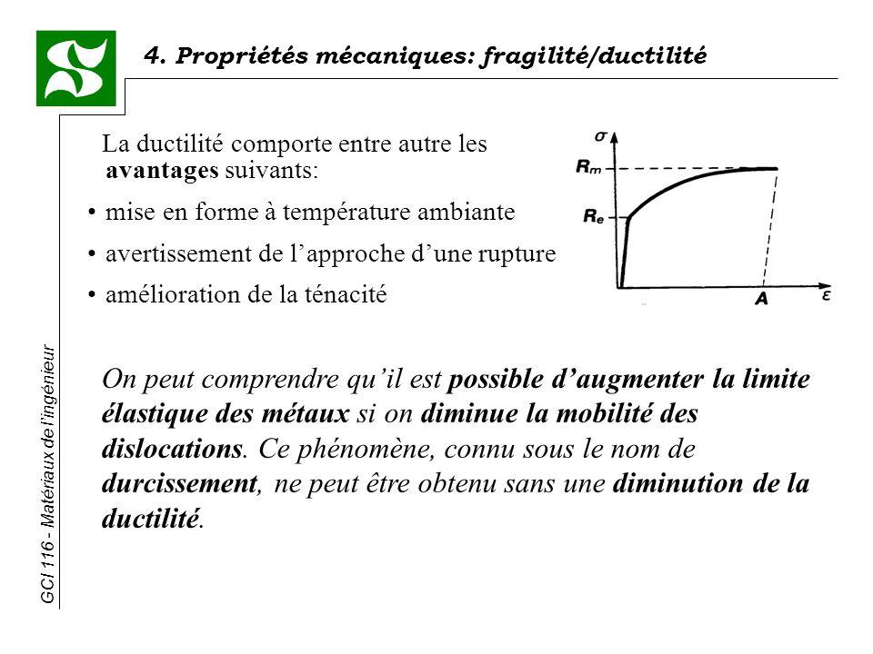 GCI 116 - Matériaux de lingénieur 4. Propriétés mécaniques: fragilité/ductilité La ductilité comporte entre autre les avantages suivants: mise en form
