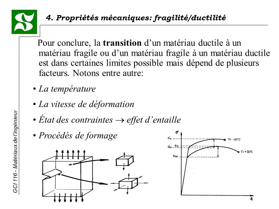GCI 116 - Matériaux de lingénieur 4. Propriétés mécaniques: fragilité/ductilité Pour conclure, la transition dun matériau ductile à un matériau fragil