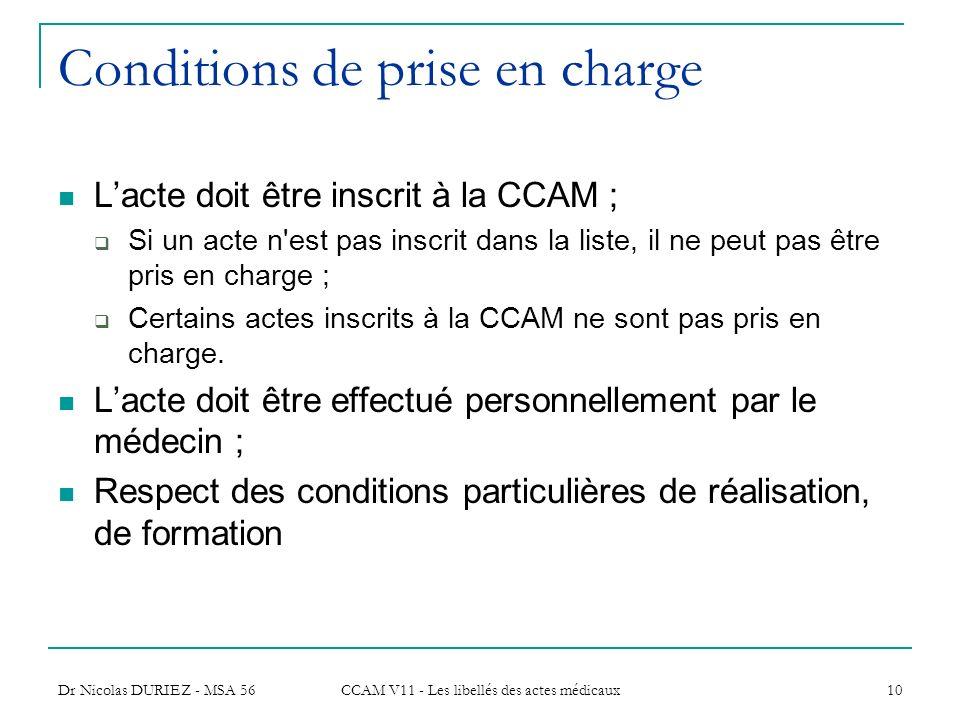 Dr Nicolas DURIEZ - MSA 56 CCAM V11 - Les libellés des actes médicaux 10 Conditions de prise en charge Lacte doit être inscrit à la CCAM ; Si un acte