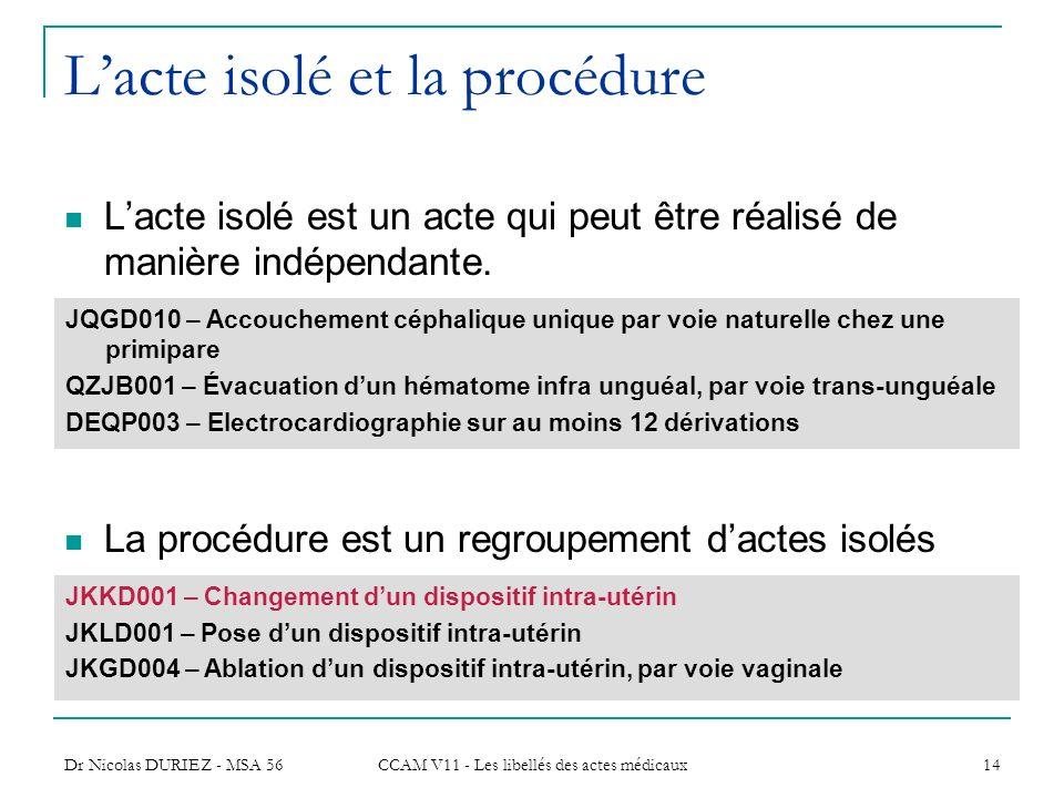 Dr Nicolas DURIEZ - MSA 56 CCAM V11 - Les libellés des actes médicaux 14 Lacte isolé et la procédure Lacte isolé est un acte qui peut être réalisé de