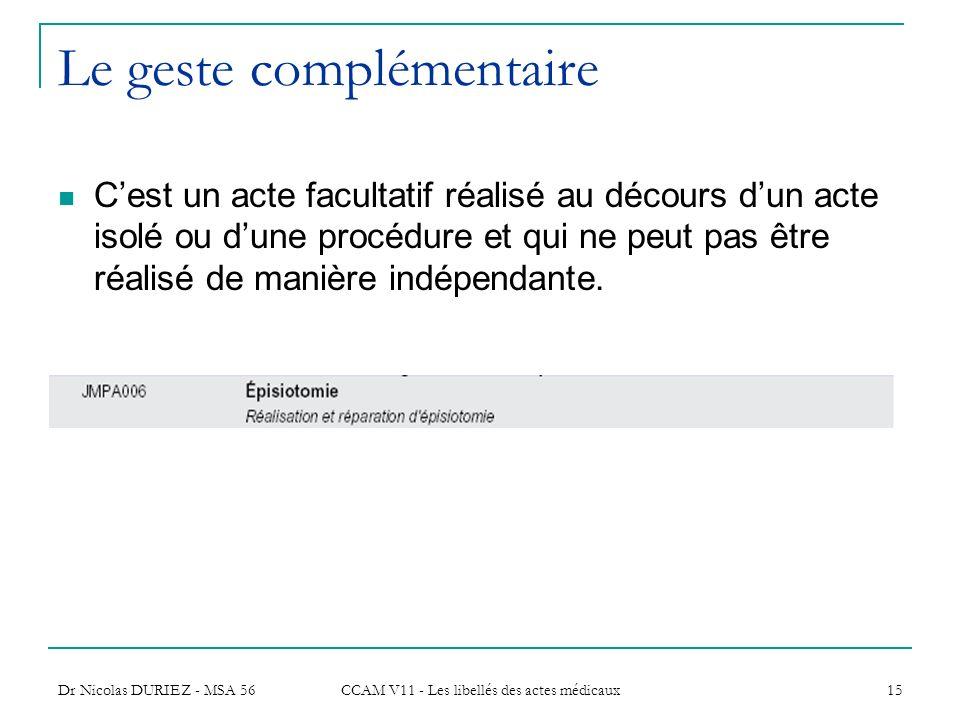 Dr Nicolas DURIEZ - MSA 56 CCAM V11 - Les libellés des actes médicaux 15 Le geste complémentaire Cest un acte facultatif réalisé au décours dun acte i