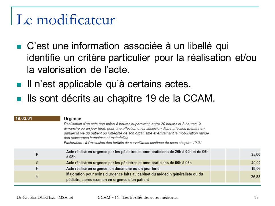 Dr Nicolas DURIEZ - MSA 56 CCAM V11 - Les libellés des actes médicaux 18 Le modificateur Cest une information associée à un libellé qui identifie un c