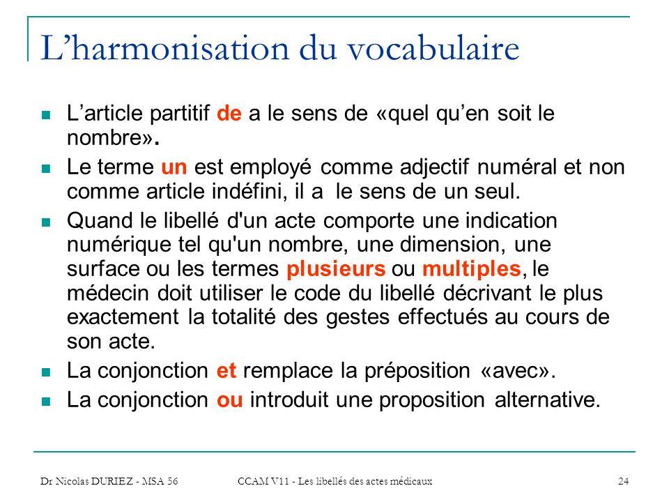 Dr Nicolas DURIEZ - MSA 56 CCAM V11 - Les libellés des actes médicaux 24 Lharmonisation du vocabulaire Larticle partitif de a le sens de «quel quen so