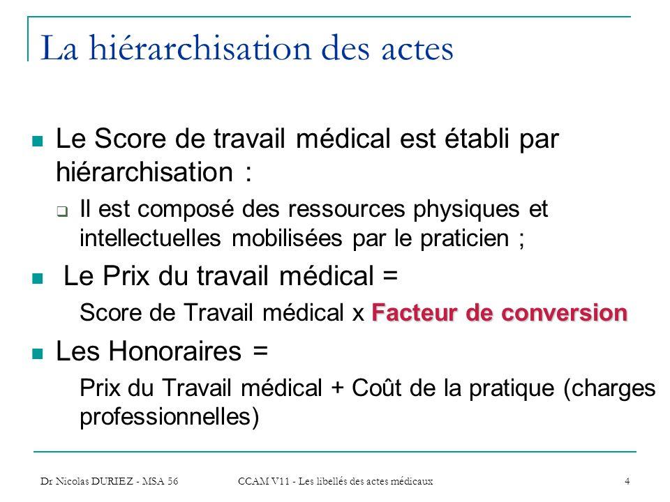 Dr Nicolas DURIEZ - MSA 56 CCAM V11 - Les libellés des actes médicaux 4 La hiérarchisation des actes Le Score de travail médical est établi par hiérar
