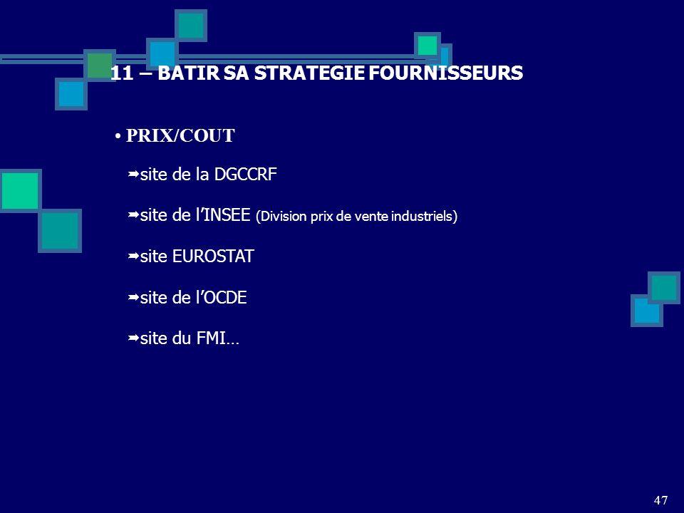 47 11 – BATIR SA STRATEGIE FOURNISSEURS PRIX/COUT site de la DGCCRF site de lINSEE (Division prix de vente industriels) site EUROSTAT site de lOCDE si