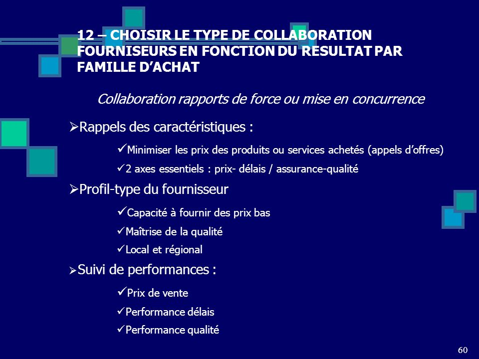 60 12 – CHOISIR LE TYPE DE COLLABORATION FOURNISEURS EN FONCTION DU RESULTAT PAR FAMILLE DACHAT Collaboration rapports de force ou mise en concurrence