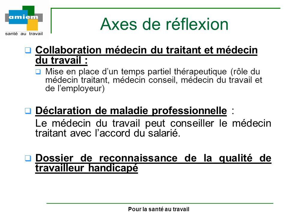 Pour la santé au travail Axes de réflexion Collaboration médecin du traitant et médecin du travail : Mise en place dun temps partiel thérapeutique (rô
