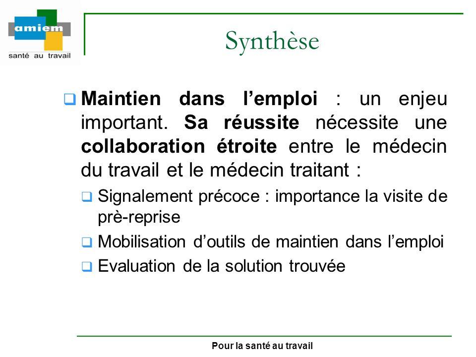 Pour la santé au travail Synthèse Maintien dans lemploi : un enjeu important. Sa réussite nécessite une collaboration étroite entre le médecin du trav