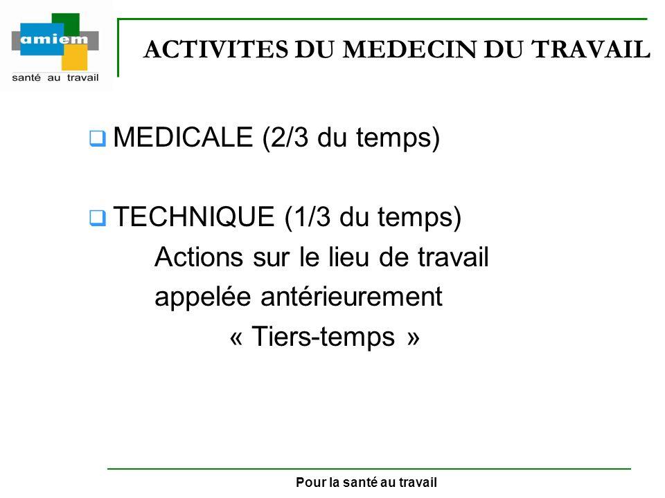 Pour la santé au travail ACTIVITES DU MEDECIN DU TRAVAIL MEDICALE (2/3 du temps) TECHNIQUE (1/3 du temps) Actions sur le lieu de travail appelée antér