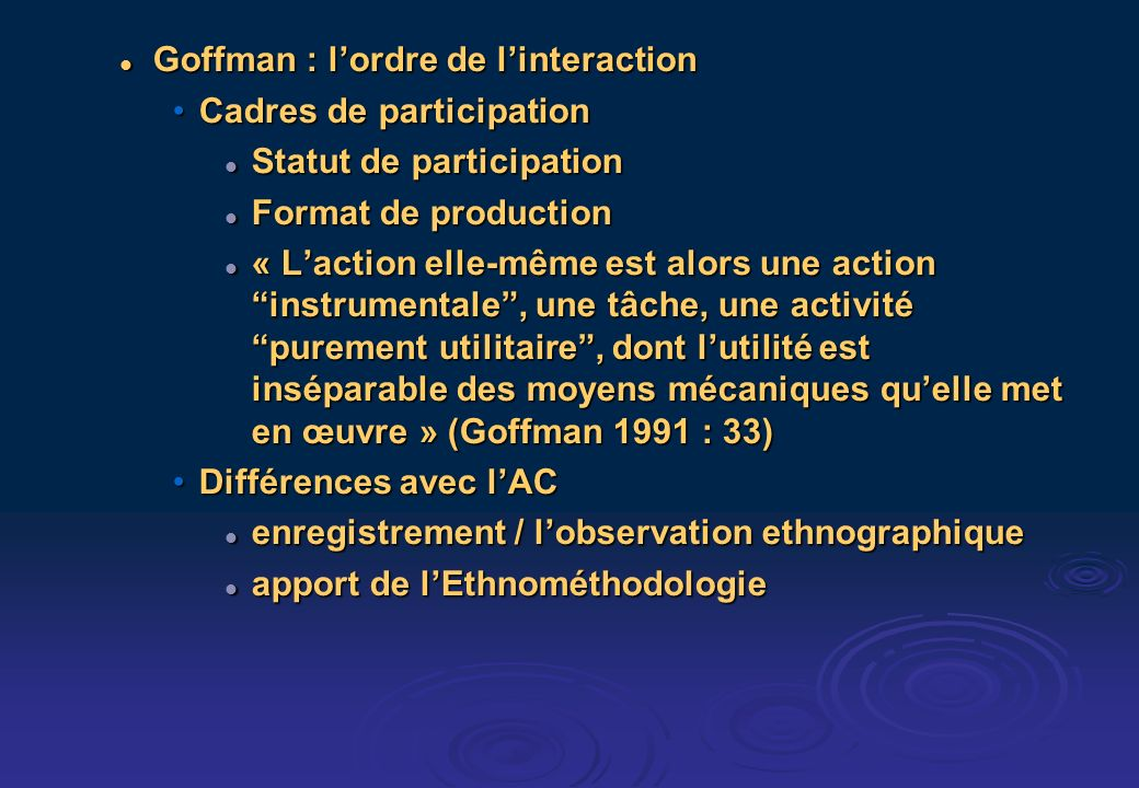 Goffman : lordre de linteraction Goffman : lordre de linteraction Cadres de participationCadres de participation Statut de participation Statut de par