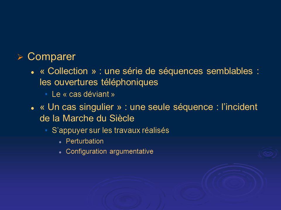 Comparer « Collection » : une série de séquences semblables : les ouvertures téléphoniques Le « cas déviant » « Un cas singulier » : une seule séquence : lincident de la Marche du Siècle Sappuyer sur les travaux réalisés Perturbation Configuration argumentative