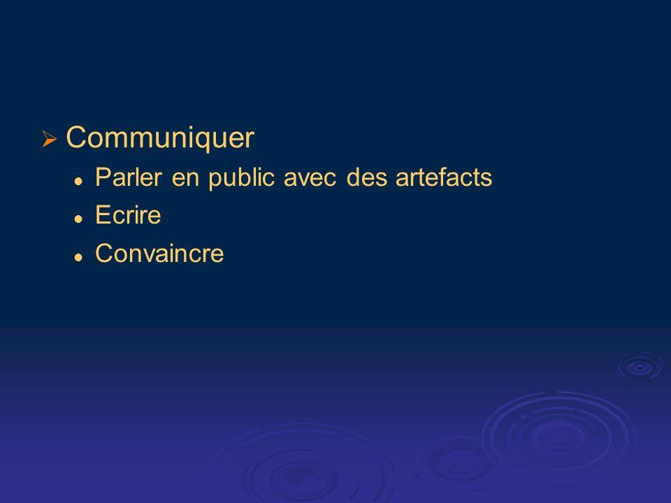 Communiquer Parler en public avec des artefacts Ecrire Convaincre