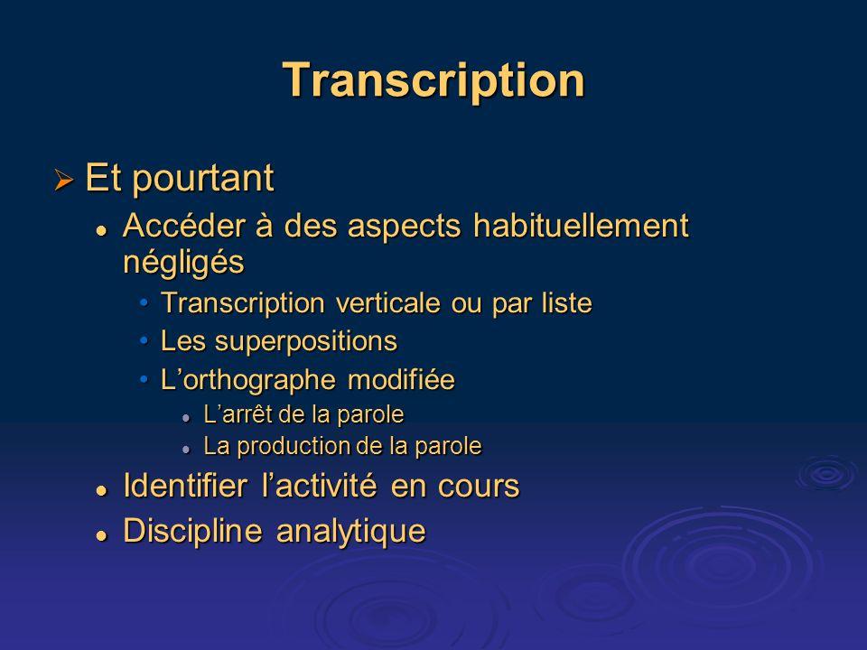 Transcription Et pourtant Et pourtant Accéder à des aspects habituellement négligés Accéder à des aspects habituellement négligés Transcription vertic