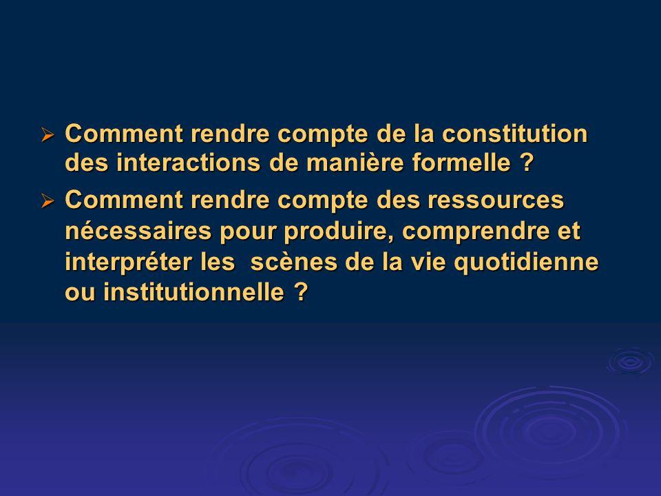 Comment rendre compte de la constitution des interactions de manière formelle ? Comment rendre compte de la constitution des interactions de manière f