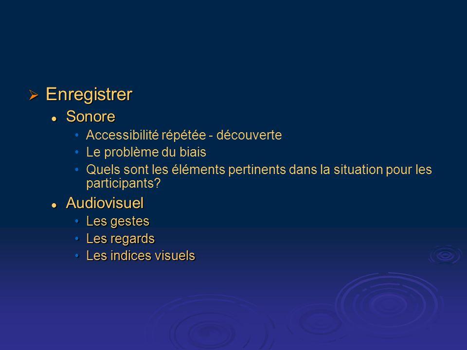 Enregistrer Enregistrer Sonore Sonore Accessibilité répétée - découverte Le problème du biais Quels sont les éléments pertinents dans la situation pour les participants.