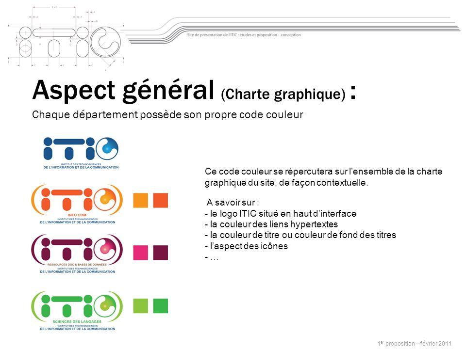 Aspect général (Charte graphique) : Chaque département possède son propre code couleur Ce code couleur se répercutera sur lensemble de la charte graphique du site, de façon contextuelle.