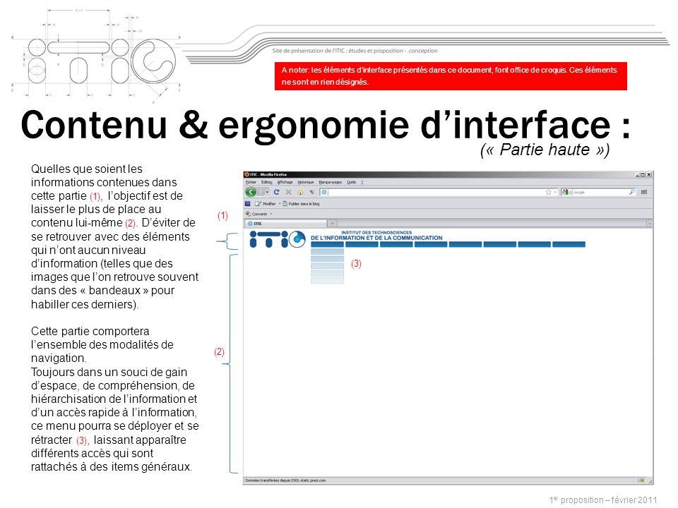 Contenu & ergonomie dinterface : 1 er proposition – février 2011 Quelles que soient les informations contenues dans cette partie (1), lobjectif est de laisser le plus de place au contenu lui-même (2).