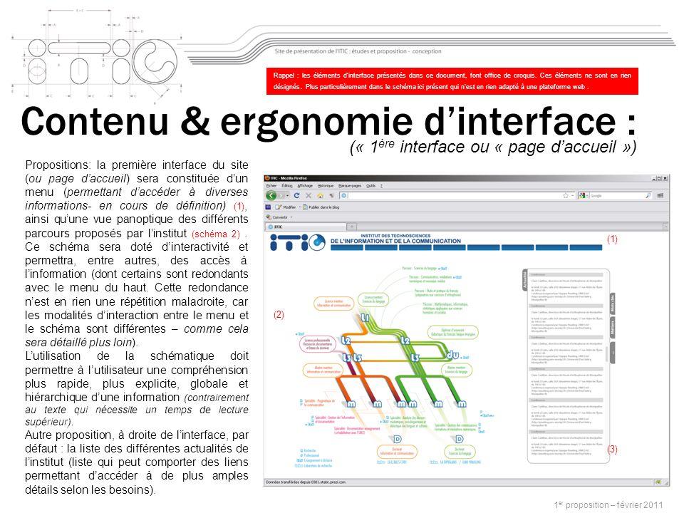 1 er proposition – février 2011 Propositions: la première interface du site (ou page daccueil) sera constituée dun menu (permettant daccéder à diverses informations- en cours de définition) (1), ainsi quune vue panoptique des différents parcours proposés par linstitut (schéma 2).