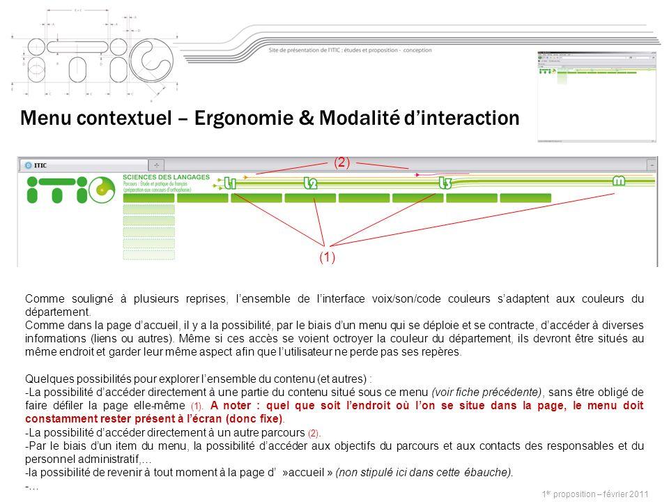 1 er proposition – février 2011 Menu contextuel – Ergonomie & Modalité dinteraction Comme souligné à plusieurs reprises, lensemble de linterface voix/son/code couleurs sadaptent aux couleurs du département.