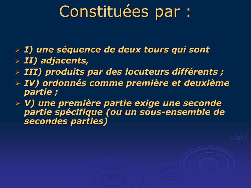 Constituées par : I) une séquence de deux tours qui sont I) une séquence de deux tours qui sont II) adjacents, II) adjacents, III) produits par des locuteurs différents ; III) produits par des locuteurs différents ; IV) ordonnés comme première et deuxième partie ; IV) ordonnés comme première et deuxième partie ; V) une première partie exige une seconde partie spécifique (ou un sous-ensemble de secondes parties) V) une première partie exige une seconde partie spécifique (ou un sous-ensemble de secondes parties)