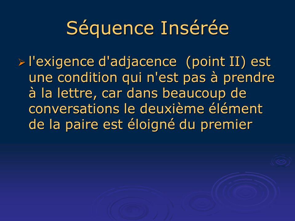 Séquence Insérée l exigence d adjacence (point II) est une condition qui n est pas à prendre à la lettre, car dans beaucoup de conversations le deuxième élément de la paire est éloigné du premier l exigence d adjacence (point II) est une condition qui n est pas à prendre à la lettre, car dans beaucoup de conversations le deuxième élément de la paire est éloigné du premier