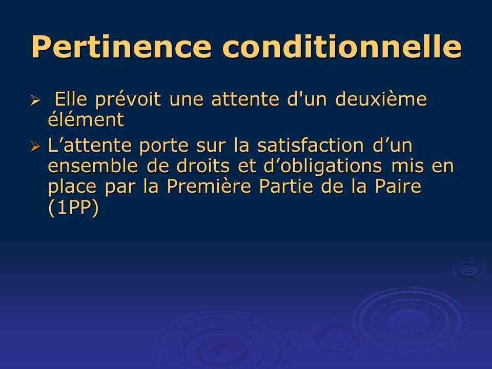 Pertinence conditionnelle Elle prévoit une attente d'un deuxième élément Elle prévoit une attente d'un deuxième élément Lattente porte sur la satisfac