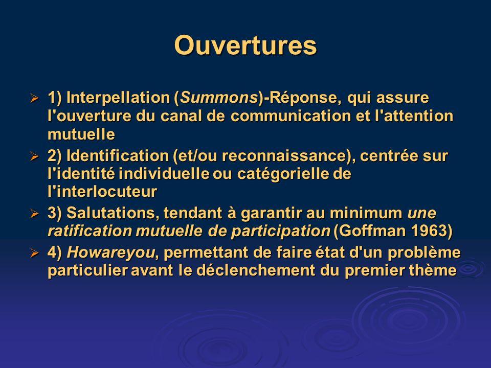 Ouvertures 1) Interpellation (Summons)-Réponse, qui assure l'ouverture du canal de communication et l'attention mutuelle 1) Interpellation (Summons)-R