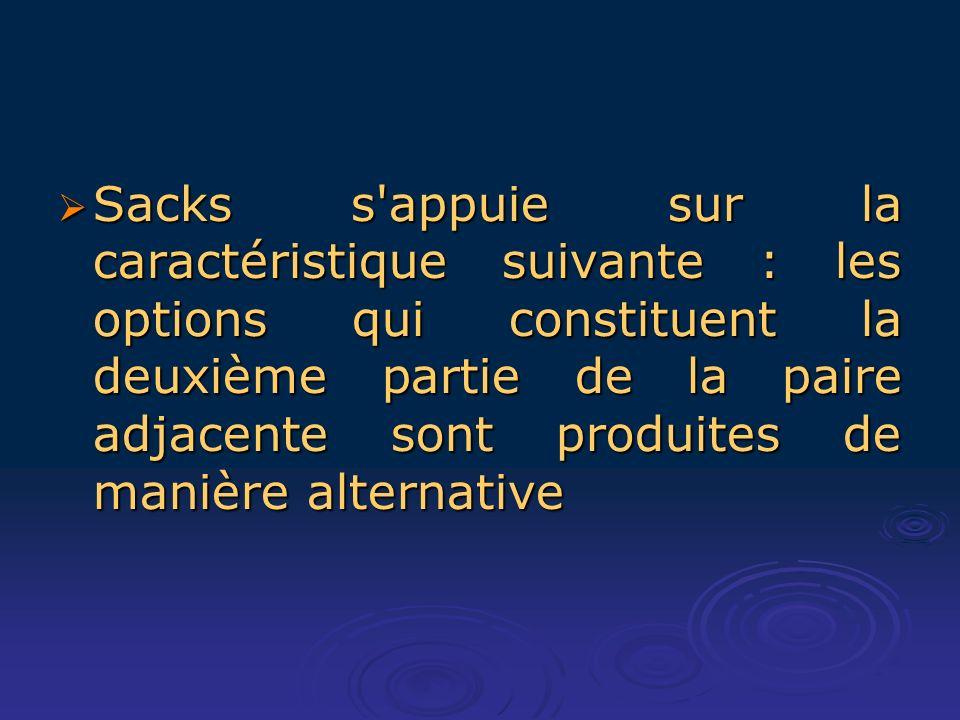 Sacks s appuie sur la caractéristique suivante : les options qui constituent la deuxième partie de la paire adjacente sont produites de manière alternative Sacks s appuie sur la caractéristique suivante : les options qui constituent la deuxième partie de la paire adjacente sont produites de manière alternative