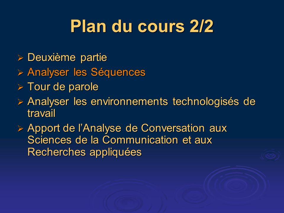 Plan du cours 2/2 Deuxième partie Deuxième partie Analyser les Séquences Analyser les Séquences Tour de parole Tour de parole Analyser les environneme