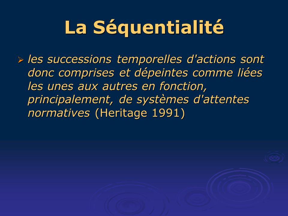La Séquentialité les successions temporelles d actions sont donc comprises et dépeintes comme liées les unes aux autres en fonction, principalement, de systèmes d attentes normatives (Heritage 1991) les successions temporelles d actions sont donc comprises et dépeintes comme liées les unes aux autres en fonction, principalement, de systèmes d attentes normatives (Heritage 1991)