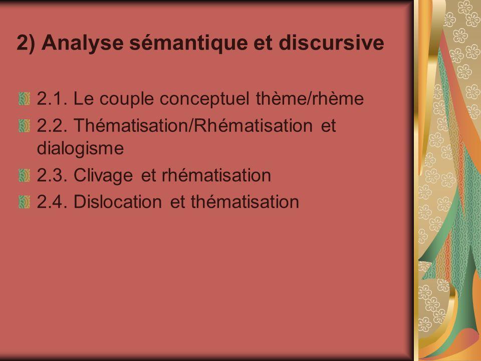 2) Analyse sémantique et discursive 2.1. Le couple conceptuel thème/rhème 2.2. Thématisation/Rhématisation et dialogisme 2.3. Clivage et rhématisation