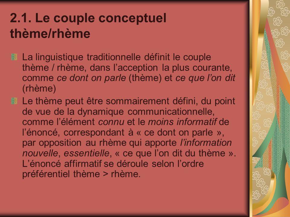 2.1. Le couple conceptuel thème/rhème La linguistique traditionnelle définit le couple thème / rhème, dans lacception la plus courante, comme ce dont