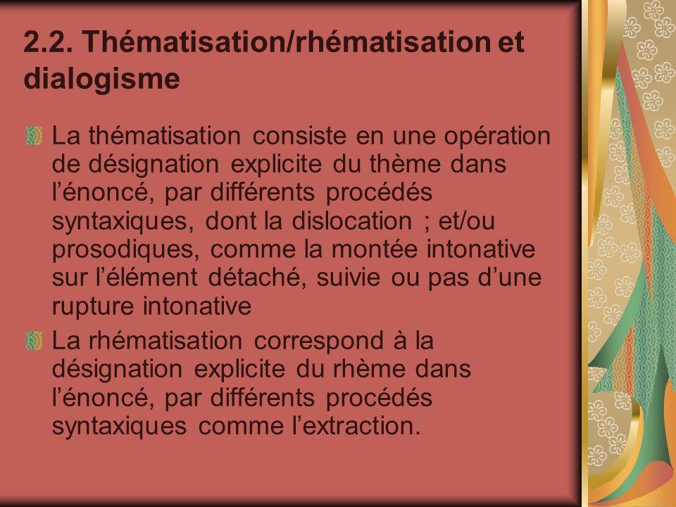 2.2. Thématisation/rhématisation et dialogisme La thématisation consiste en une opération de désignation explicite du thème dans lénoncé, par différen